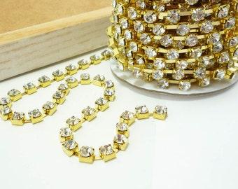 Gold Rhinestone Chain, Clear Crystal Trim, Rhinestone trim, Gold Rhinestone trim, Gold crystal chain(6mm / 1 Yard Qty)