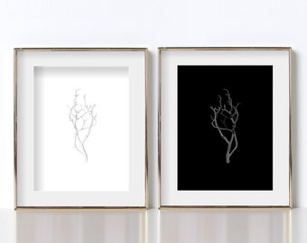 Manzanita Branch Digital Download Prints Black and White Prints Modern Abstract Art Printable Art Black and White Photography Printable Art