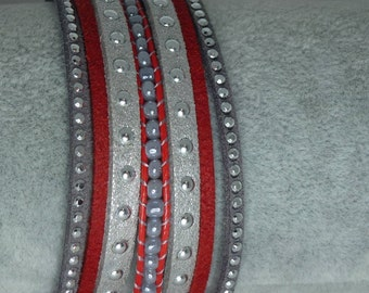 Red and grey suede Cuff Bracelet woven