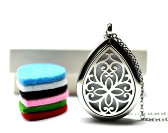 Celtic Stainless Steel Essential Oil Diffuser Necklace // Aromatherapy Necklace // - With Choice of Essential Oil
