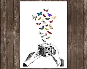 housewares home decor - butterflies art, print illustration 8x10 A4