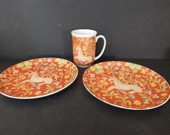 Seymour Mann, Hunt Of The Unicorn, Flemish Tapestry, 2 Plates, 1 Mug