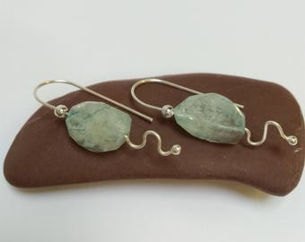 925 Silver earrings and aquamarine