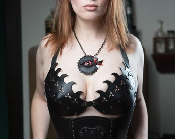 Hard Leather Fanged Bra - Custom