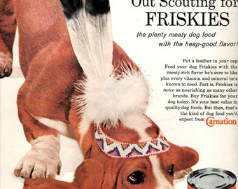 1960s Friskies Dog food Indian dog vintage magazine ad  wall decor collectible art  (LG)