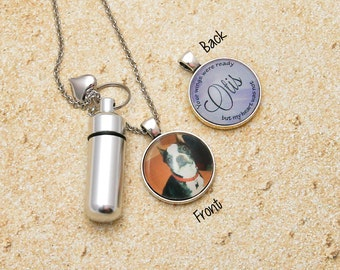 Pet Urn Necklace, Pet Memorial Jewelry, Cremation Necklace, Dog Memorial, Necklace for Ashes, Urn Pendant, 2 Sided Jewelry, Pet Name Jewelry