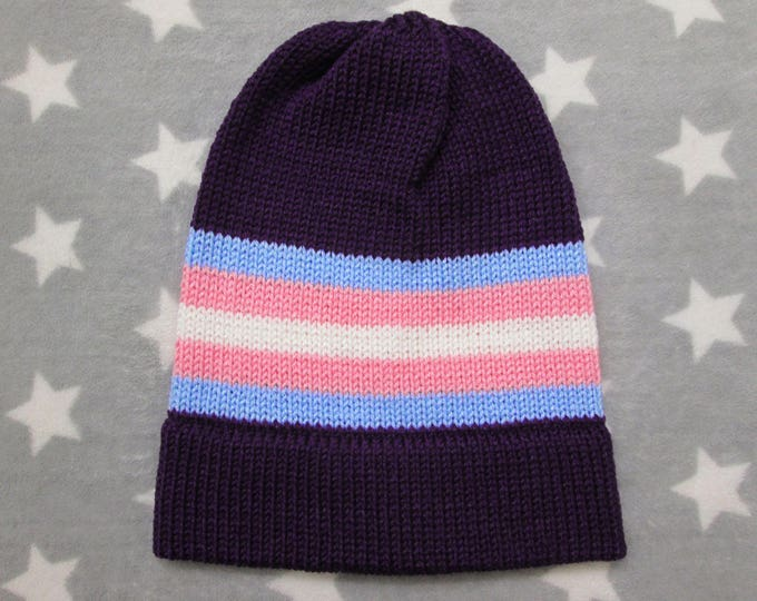 Knit Pride Hat - Trans Pride - Purple Slouchy Beanie - Acrylic