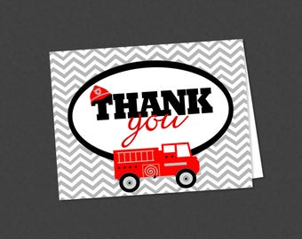 Firetruck Baby Shower or Birthday Folded Thank You Note Card - INSTANT DOWNLOAD - Chevron and Red Firefighter Fire Engine