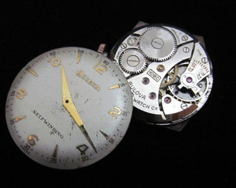 Vintage Antique Round Bulova Watch Movements with Dials Faces Steampunk Altered Art Assemblage A 52