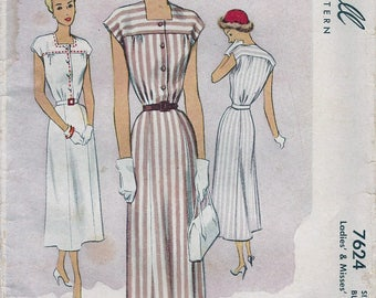 1940s McCall 7624 Misses' Day Dress Sewing Pattern CUT