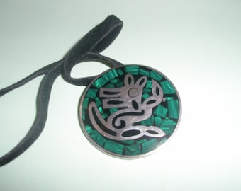 Mexican Silver Malachite Two Ways to Wear Brooch/Pin or Pendant