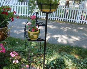 Vintage Mid Century Black Wrought Iron Plant Stand for Six pots