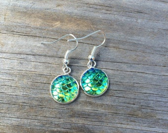 Green Mermaid Scale Earrings