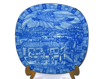 Swedish Christmas Plate, Julen Rorstrand, Souvenir Plate,Design by Gunner Nylund, Blue and White Porcelain,Limited Edition Collectible 1982