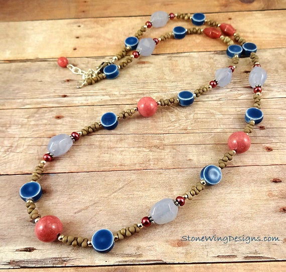 Blue Chalcedony, Rhodonite, Red Pearls and Blue Ceramic Necklace
