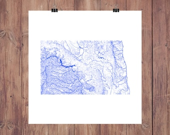 North Dakota Map - High Res Map of North Dakota Rivers / North Dakota Print / North Dakota Art / North Dakota Decor / North Dakota Gift