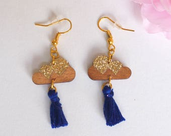 Wooden cloud earrings