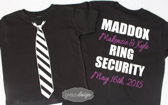 Custom Ring Security Ring Bearer T-shirt on Back Tie on Front Wedding Date and Bride and Groom Names Added
