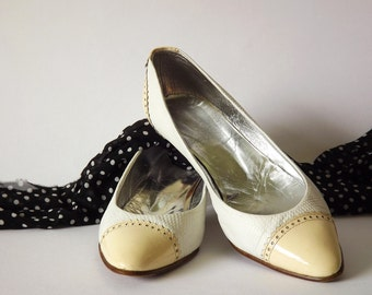Vintage wedding shoes 80's handmade in Yugoslavia EU size 38, UK 5, US 6