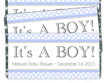 YOU PRINT - Baby Shower Candy Wrappers - Chocolate Bar Candy Wrappers - baby shower, polka dots, custom for you