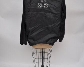 vintage club jacket oversized early 1980s bomber jacket 80s boyfriend fit dice labeled medium