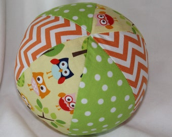 Yellow Lazy Owls Boutique Ball Rattle Toy