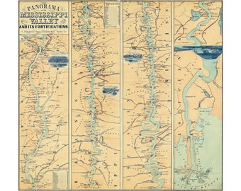 Map of Mississippi Valley Fortifications, 1863; Antique Civil War Map