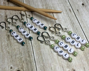 Cable Left/Right Reminder Markers, Cable Stitch Marker, Gift for Knitters, Removable Pattern Markers