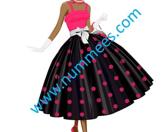 50s Themed Lady Edible Image - hot pink and black