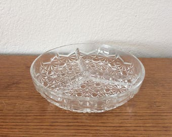 Vintage Crystal Candy Dish/Ashtray Sectioned Beautiful Collectible