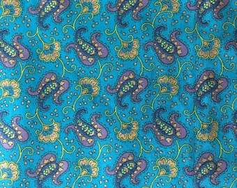 Printed Cotton Paisley on Deep Turquoise Background, #dr122