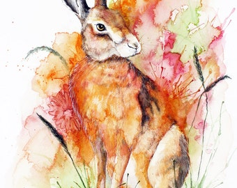 Hare Art Print, Hare Illustration, Hare Painting, Hare Print, Hare Wall Art, Watercolour Hare Print, Digital Hare Print, Hare Painting Print