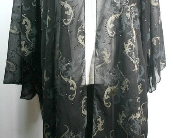 Plus size kimono style cardigan, beautiful pasiley pattern, kinomo sleeve, black chiffon, size L-1X or 2X-4X