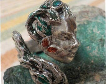 Sterling Silver Green Lady Ring