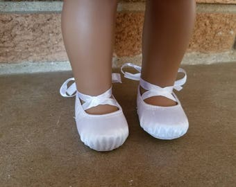 """White ballet shoes for American Girl 18"""" Doll, satin pointe toe"""