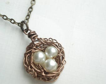 Bird Nest Necklace Mothers Day Necklace Gift for Wife Mom Necklace Pendant Jewelry Wire Bird Egg Nest Mom