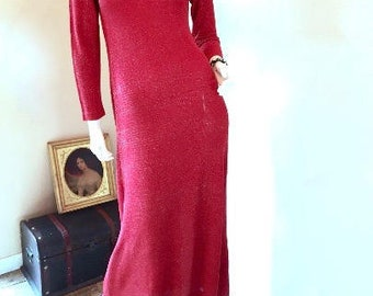 Vintage 70s Metallic Red Lame Dress Size 8! Lurex Jersey Turtleneck Maxi Size Medium 8. Long Formal Red Wedding Guest Dress by Miss Elliette