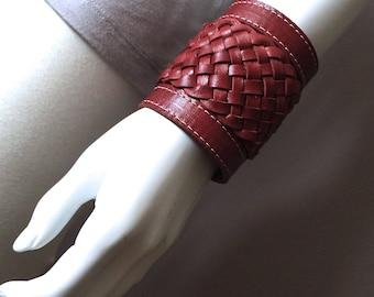 Leather bracelet, wide braided leather cuff, braided bracelet, boho chic bracelet, bohemian style jewelry, Pixie bracelet