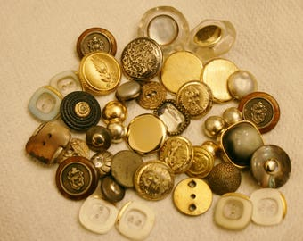 Beautiful Collection of vintage metal celluloid buttons- Collectible Antiques for High Quality Jewelry Crafts Clothing Artisans & Sewing