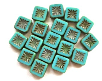 Ten 10mm x 10mm square opaque turquoise green, carved, table cut, picasso Czech glass beads, front and back carved C7901