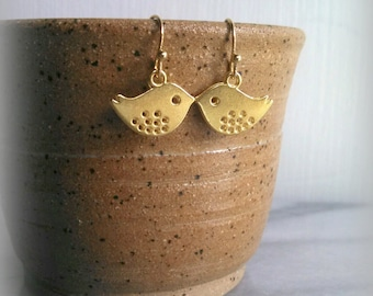 Little Bird Earrings, Gold, Swallow, Simple, Gift for Her, by ktnunna