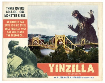 Pittsburgh Art Digital Print Movie Poster Humorous Art Andrew Yinz Pittsburghese  Sci Fi Art Monster Movie Monster Art