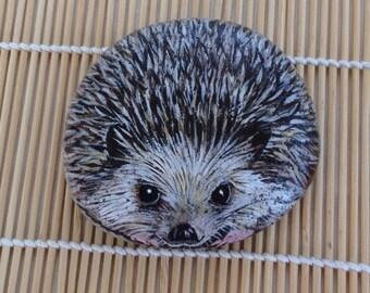Hedgehog Pebble Art, ready to ship.
