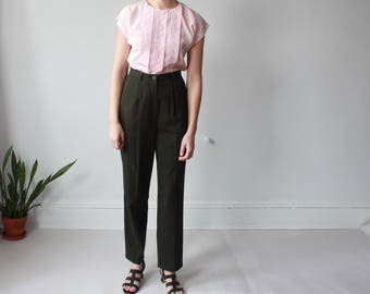 high waisted forest green trousers | tapered leg, size small - medium