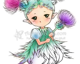 Thistle Sprite - Aurora Wings Digital Stamp - Cute Flower Fairy - Fantasy Line Art for Arts and Crafts by Mitzi Sato-Wiuff