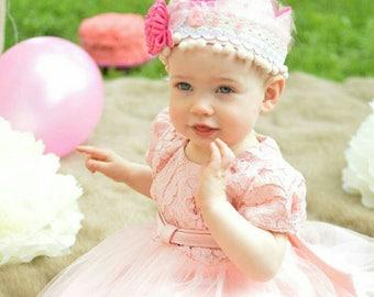 Birthday felt crown, first birthday, toddler pink princess,  photo prop, lace