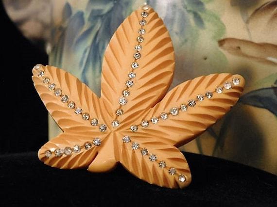 Art Deco Bakelite Clip / Maple Leaf / Rhinestone Dress Clip / Butterscotch Hand Carved Bakelite / Fur Clip
