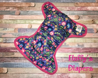 Folk Love Polyester PUL Cloth Diaper Cover With Aplix Hook & Loop Or Snaps You Pick Size XS/Newborn, Small, Medium, Large, or One Size