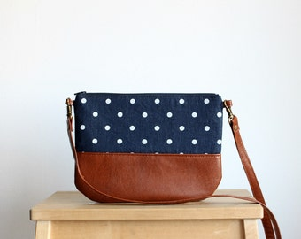 Denim Polka dot Crossbosy every day bag Clutch Purse Vegan leather Brown Navy Small purse