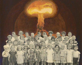 Medium Giclee Print from my Original Collage, Having a Blast - Atomic Bomb Retro Vintage Pop Surrealism Surreal School Weird 1950s Creepy